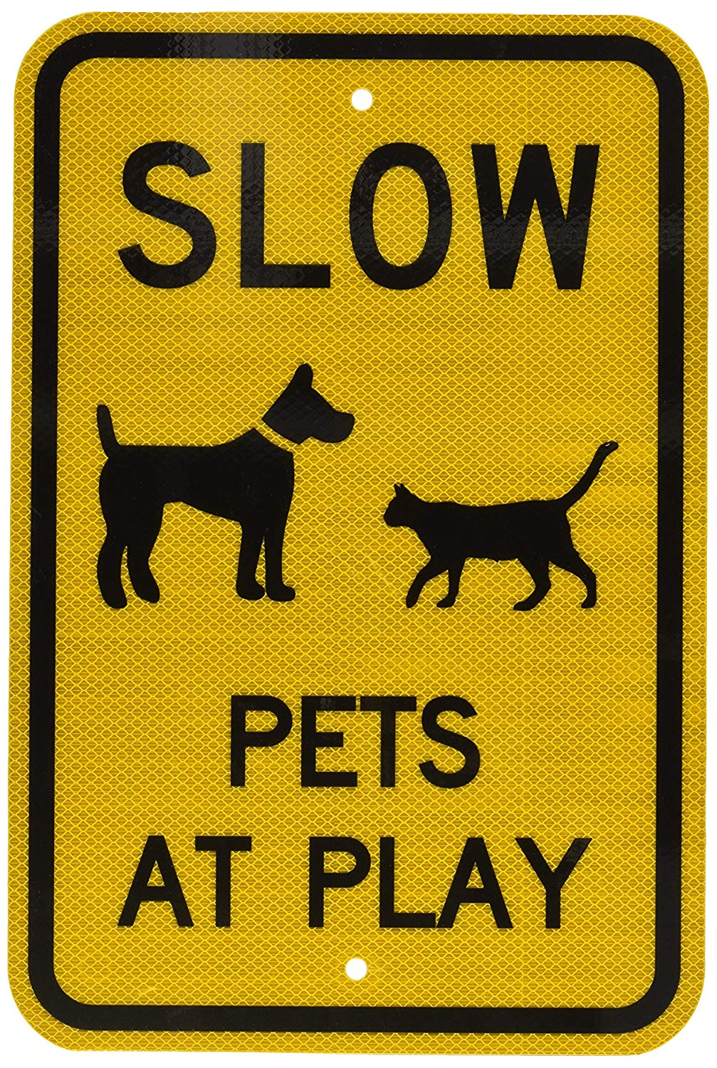 "SmartSign 3M High Intensity Grade Reflective Sign, Legend ""Slow - Pets at Play"" with Graphic, 18"" high x 12"" wide, Black on Yellow"