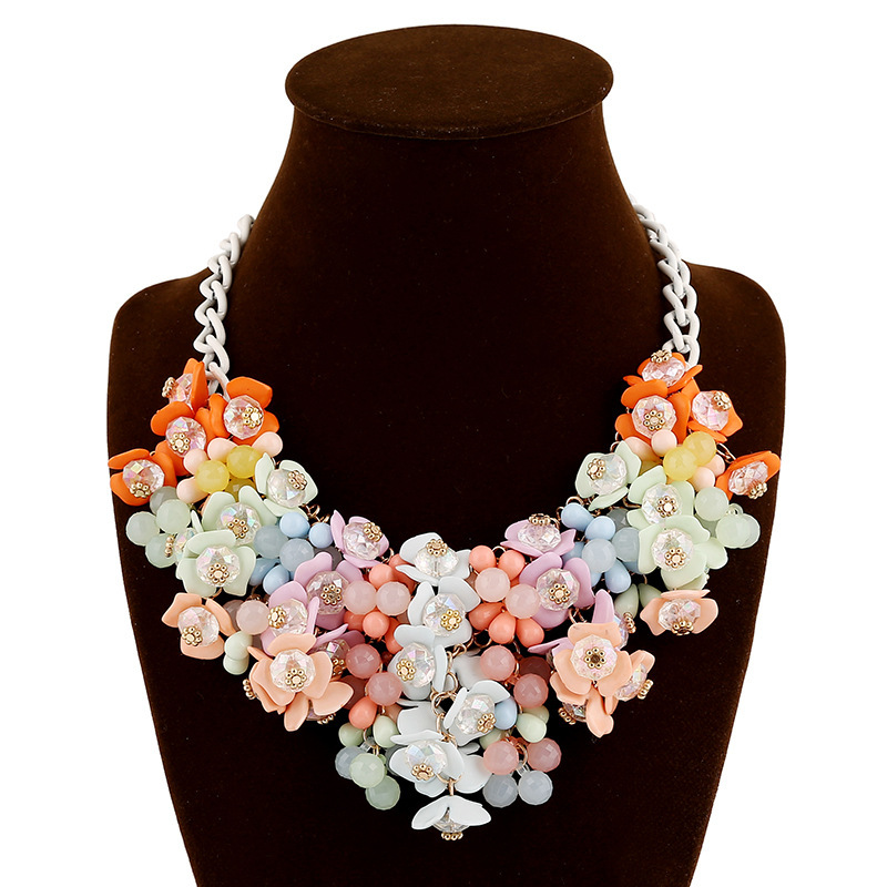 Yiwu 2016 New arrivial exaggerated pink flower pearl necklace flower shaped pendant necklaces charm necklace