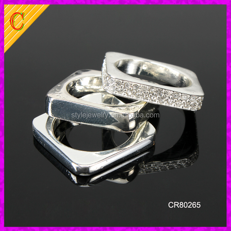 CR80265 wholesale latest design fashion crystal jewelry 925 sterling silver ring men