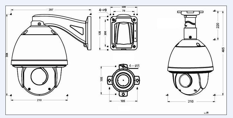 ls vision 30m ir distance cctv camera boat waterproof camera 25m ir cctv camera