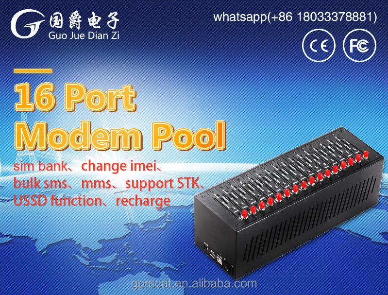 16 port bulk sms gsm modem with MC35i module for bulk sms AT Command