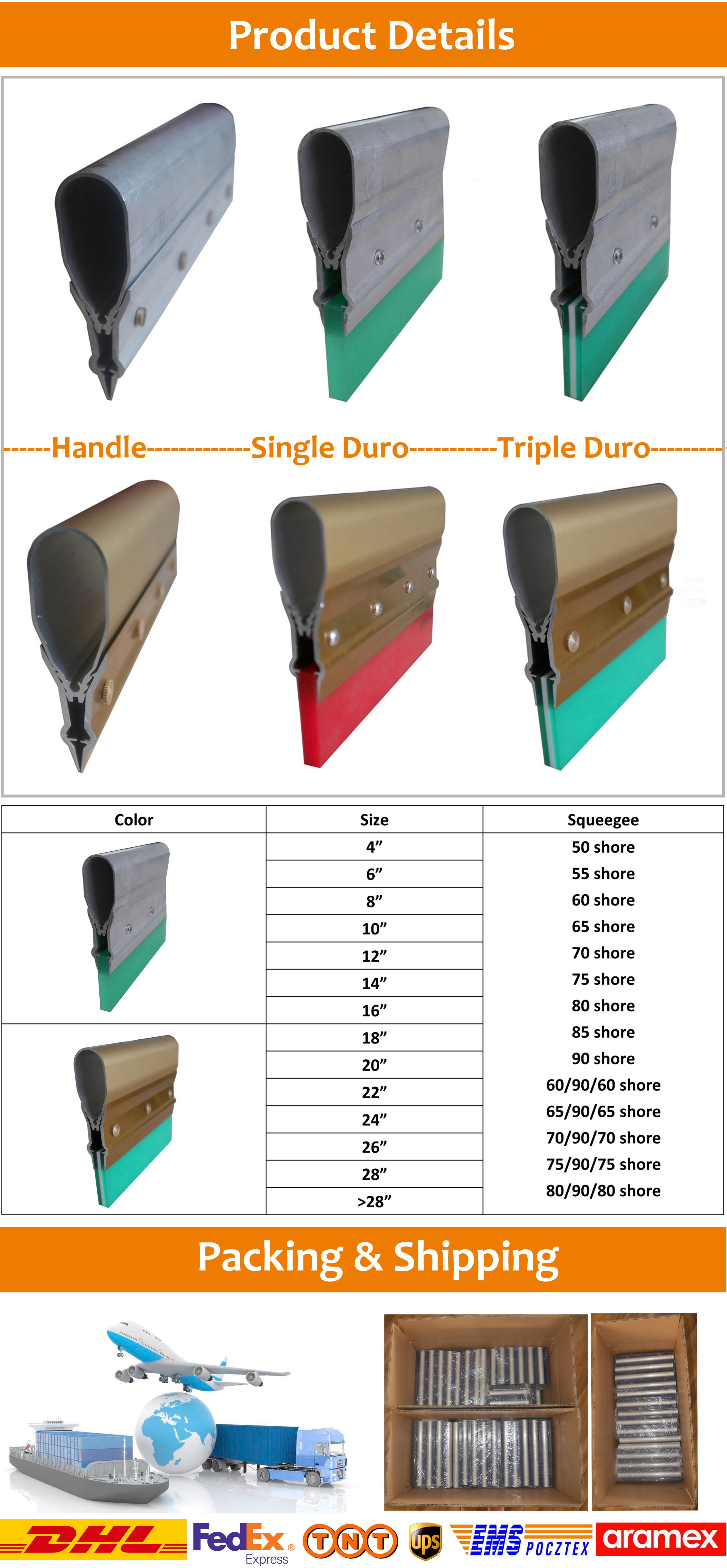 Composite aluminum handle squeegee for screen printing