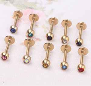 Stainless Steel Best Selling Wholesale Body Jewelry Multicolor Diamond Lip Stud Ring