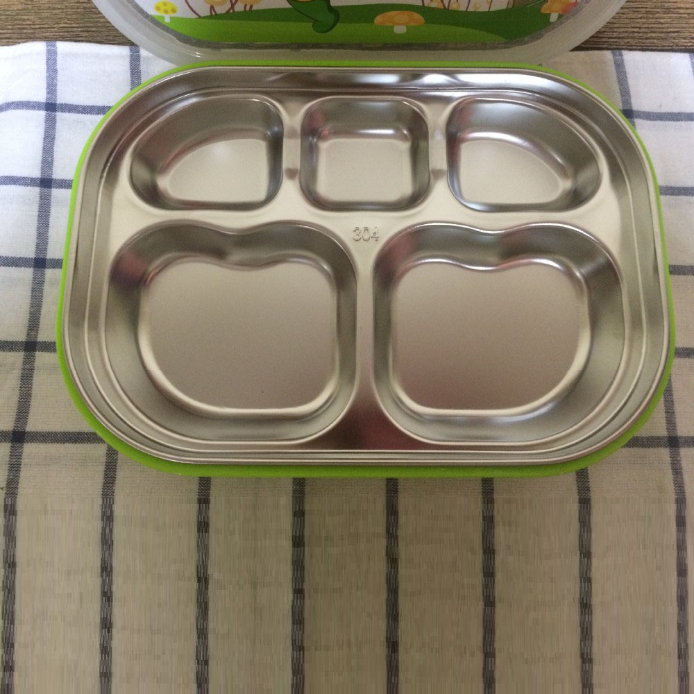 Food Grade Stainless Steel kids Bento Lunch Box 5 Compartment Fast Food Tray Plate With Lock