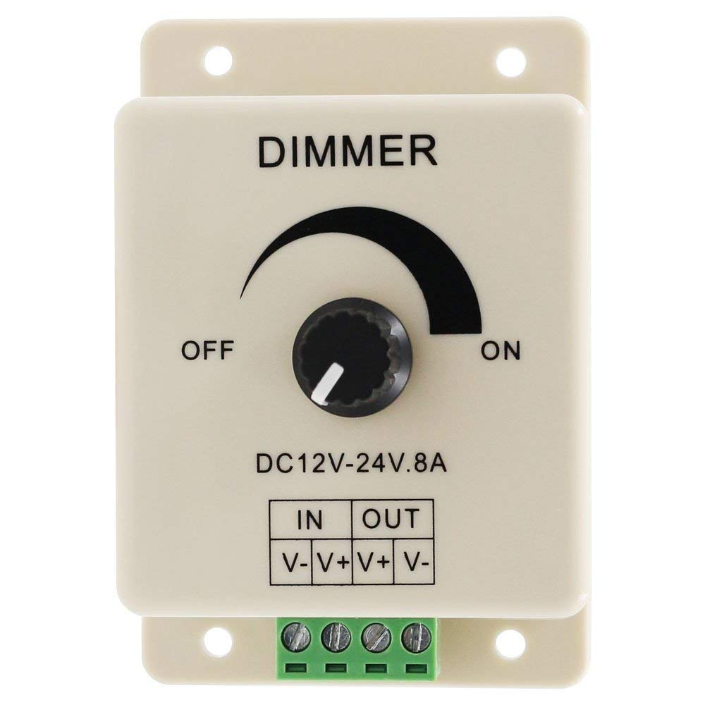DC12-24V 8A PWM Manual Knob Dimmer Controller, 0%-100% PWM Dimming Control, Brightness LED Dimmer Switch for 5050/3528 Single Color LED Strips, Ribbon Lights, Tape Lights