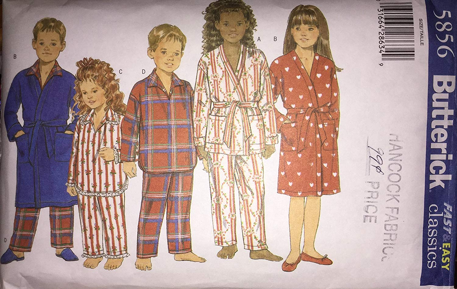 CHILDRENS/BOYS/GIRLS ROBE, BELT, TOP & PANTS SIZE 4-5, 6-7, 8-10, 12-14 BUTTERICK SEWING PATTERN #5856 BUTTERICK FAST & EASY CLASSICS