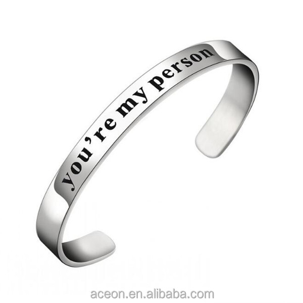 Yiwu Aceon Stainless Steel Custom Stamped You're My Person Promotional Cuff Bangle