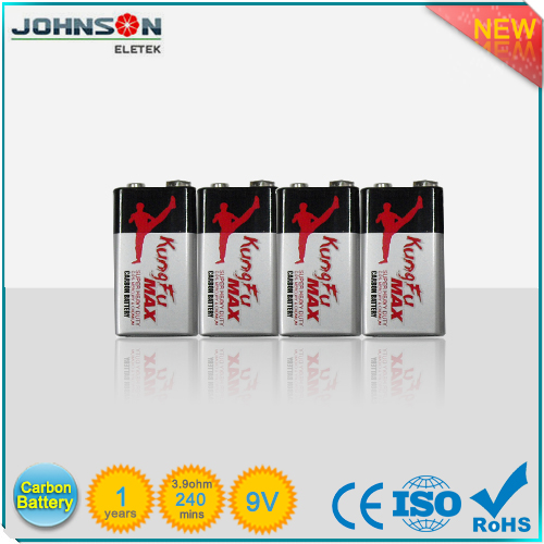 Heavy duty carbon zinc 6F22 9v battery