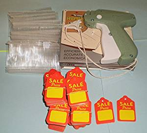 CLOTHING PRICE TAGGING GUN + 1000 PINS FASTENER + 500 SALES PRICE TAG LABELS
