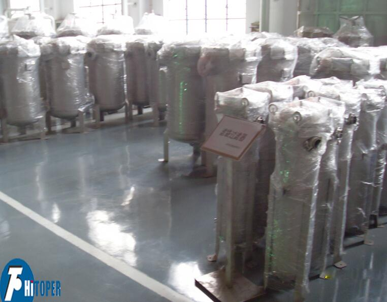 Single bag filtering waste water or soft drink industry used filteration equipment.