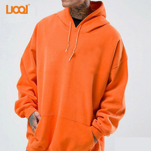 LuoQi Clothing 100% Cotton Men Casual Plain Dyed Orange Custom Blank Oversized Hoodie