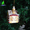 High Quality Stock Blown Hanging Glass House Shaped Figurine Christmas Tree Ornaments