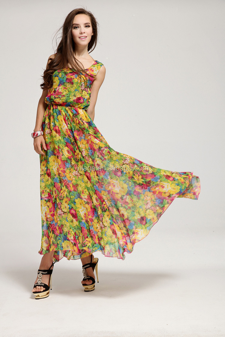 Summer Modern Scoop Neck Print Chiffon Sleeveless Dress Slim Bohemian Fashion Women Qd201705