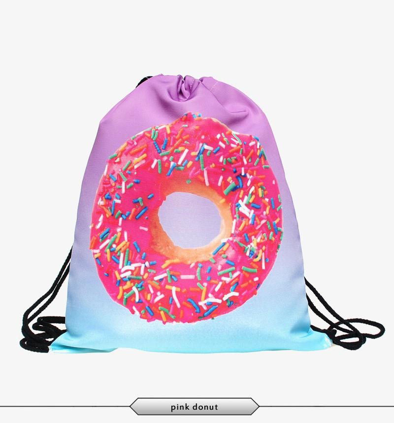 3d Printing Backpack Drawstring Bag Pink Donut Full Print