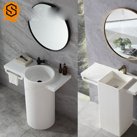Italian Design wash basin acrylic solid surface pedestal lavatory wash basin