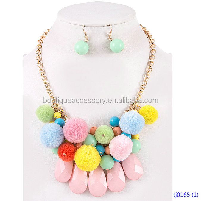 Pom Pom and Acrylic Faceted Teardrop Dangle Bib Necklace Set