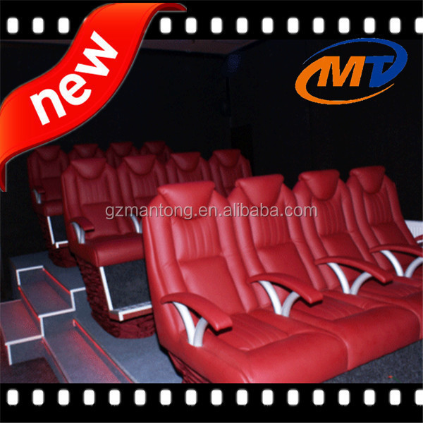 Electric 7D cinema Equipment fiber glass motion chair with water jet/ear wind/leg tickler/seats vibration special effects