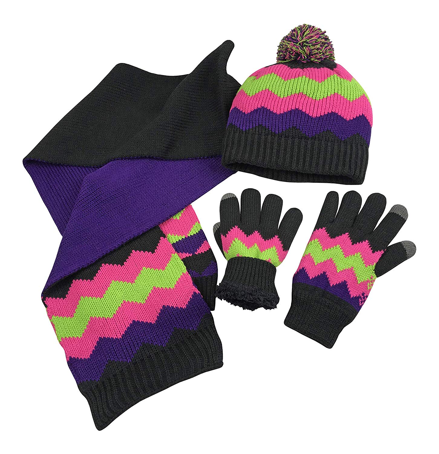 Get Quotations · N Ice Caps Big Girls Bulky Sherpa Lined Cable Knit Zig Zag  Hat Scarf 8a1c05fc51