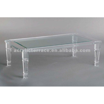 Royal Glass Top Tapered Leg Acrylic Lucite Coffee Table
