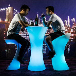 outdoor furniture D60*H110 round high led bar table 16 colors light with remote control