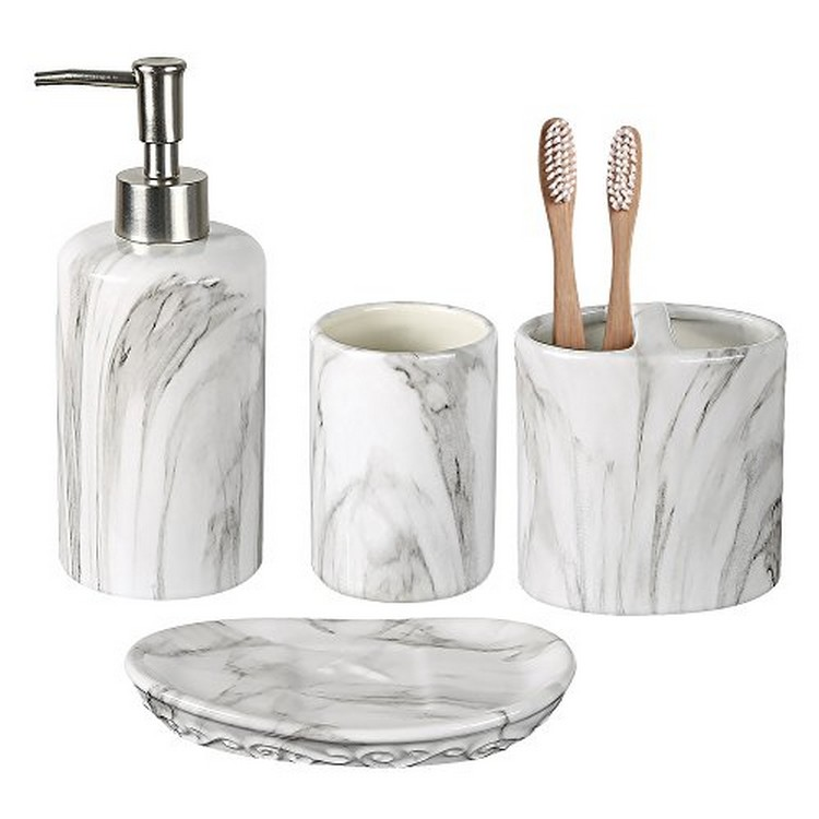 Home Accessories White Black Ceramic Natural Marble Bathroom Accessories Set of 5pcs for Home Bath Decor