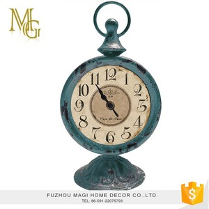 Countryside style antique metal and glass mechanical table clock