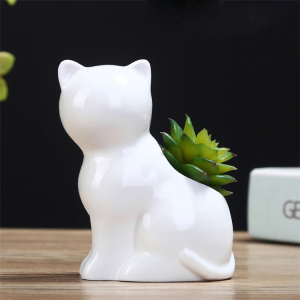 Cheap Price Ceramic Animal Cute Cat Flower Pot