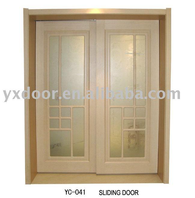 Doble hoja de la puerta pvc de madera yc 041 puerta - Puerta corredera doble hoja ...