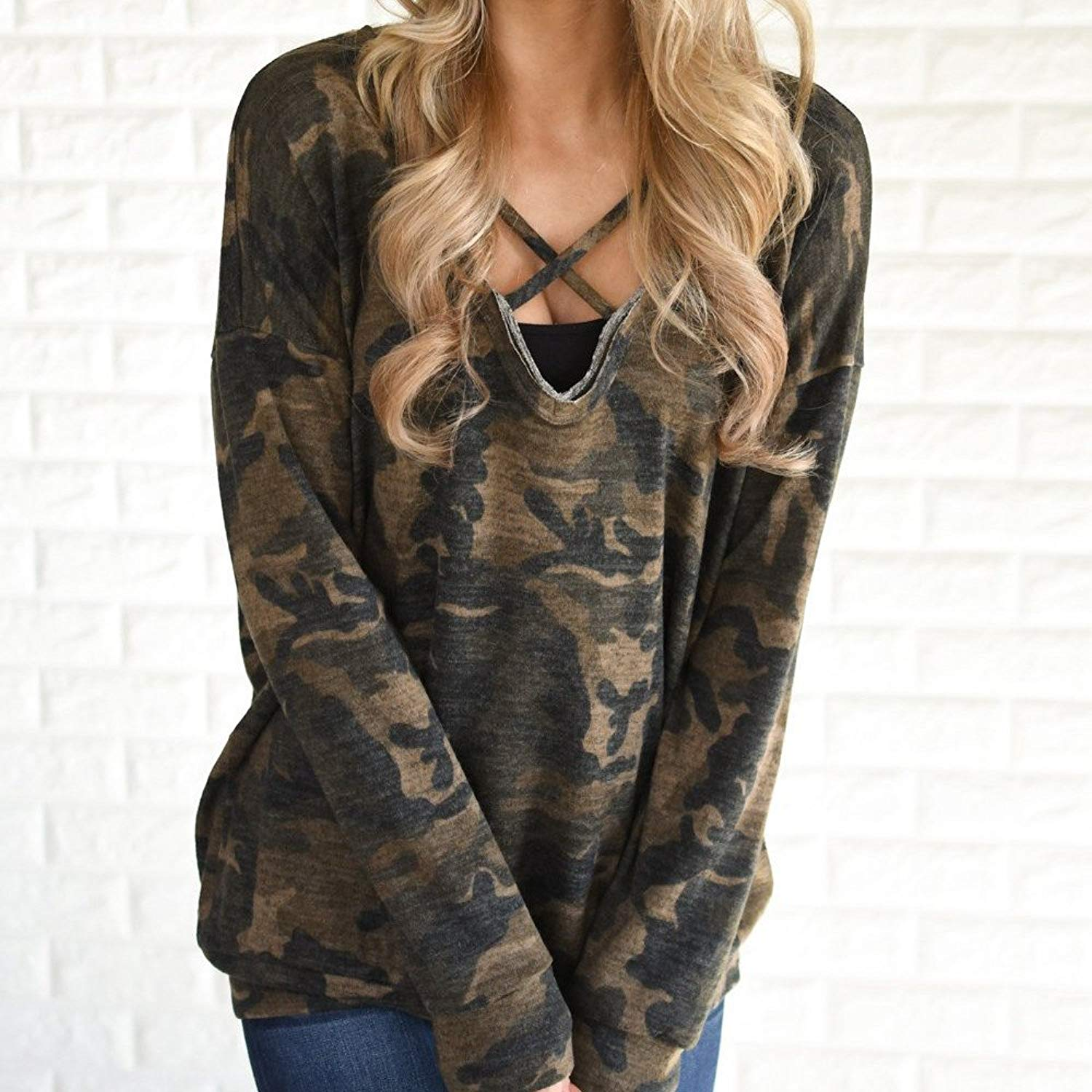 UPLOTER__Shirts Women Camouflage Loose Long Sleeve Round Neck Pullover Shirt Blouse Top Shirt