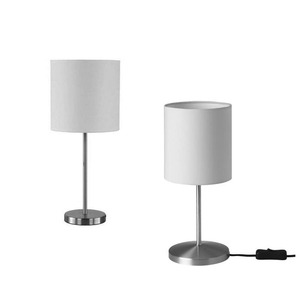 Simple Designs Nickel chrome Basic Table Lamp with White Fabric Shade