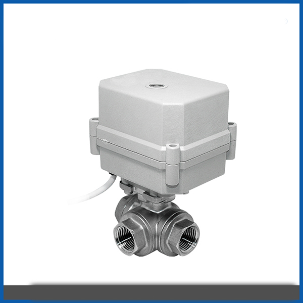 "1/2"" 3/4"" electric Micro motorized three way ball valve"