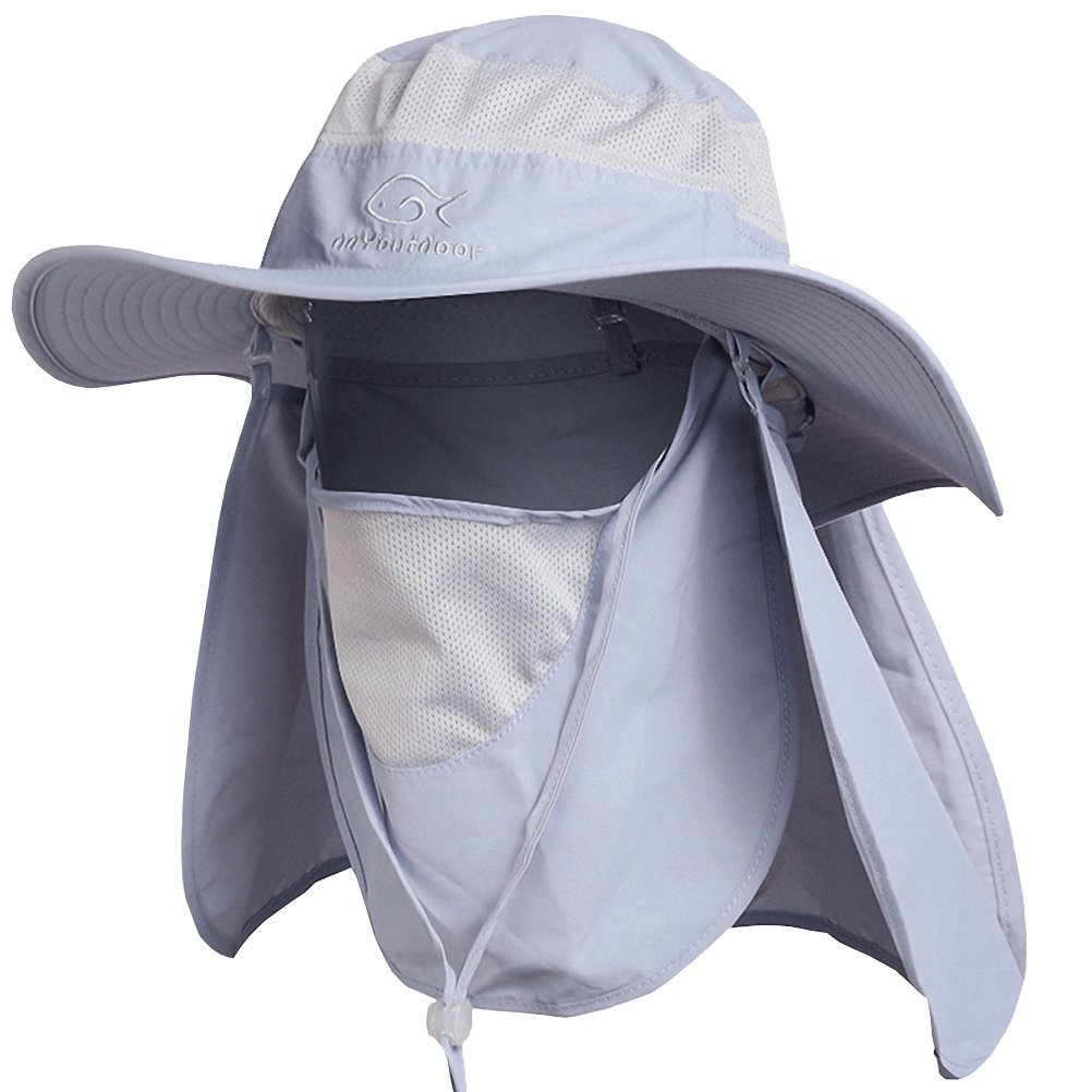 Fashion Outdoor UVA//UVB Protection Fishing Cap Neck Face Flap Hat Wide Brim Pink