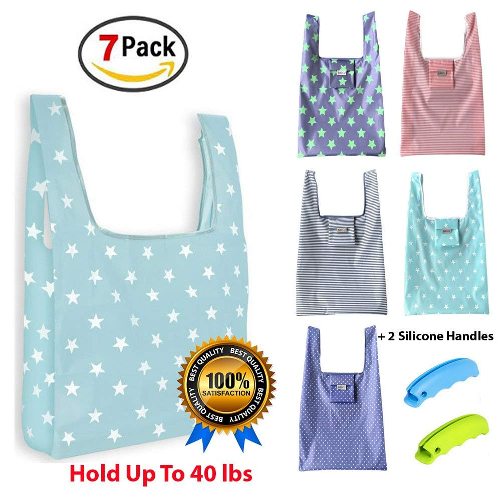 Reusable Grocery Bags 7 Pack (Set of 5 Shopping Bags +2 Silicone Handles) Reusable Bag, Reusable shopping bag, nylon bag, nylon tote bag, shopping bag reusable, eco reusable bags, foldable