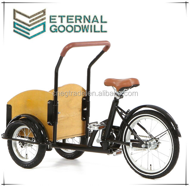 Fashion mini bike child bicycle single speed 3 wheels cargo kids bike/cargobike/tricycle cargo bike/bakfiets UB9035 for children