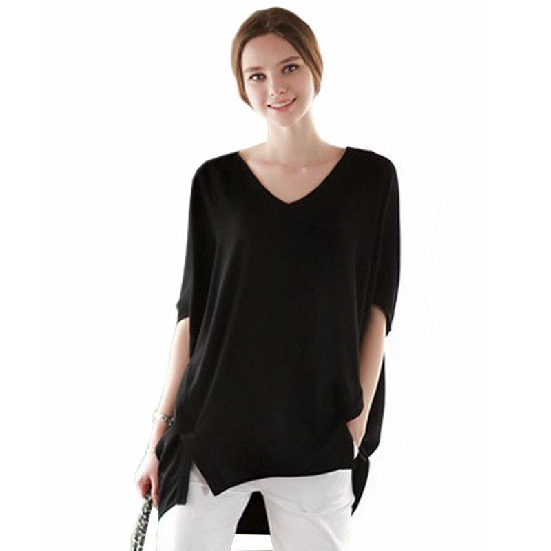 7fcf6e9d4b0 Get Quotations · 2015 Women Batwing Sleeve V-Neck Chiffon Blouse Summer  Style Ladies Elegant European Solid Loose