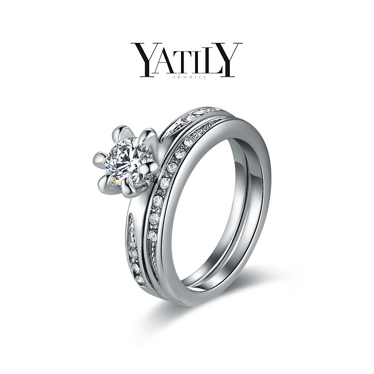 High Quality Eternity CZ Diamond Ring Lovers Set White