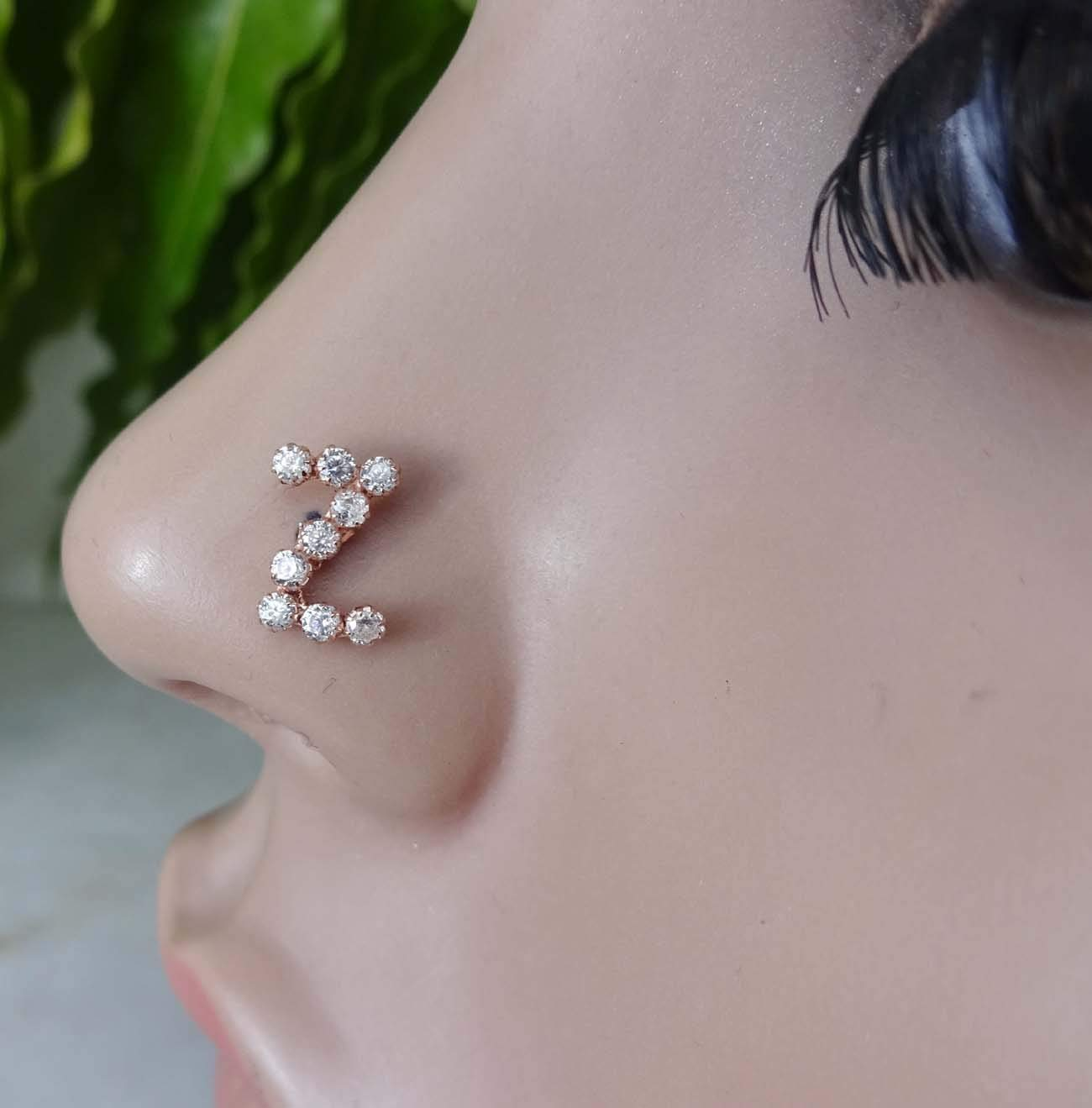 Cubic Zirconia,Alphabet Piercing,Indian Nose Stud,Opal Nose Ring,14K Gold Piercing,Crock Screw Nose Stud,Nose Piercing,Personalized Nose Stud,Sterling Silver Personalized Initial Piercing ( TEJ484)