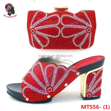 Gzmadison African lady leather high grade party pretty women's Italian shoe and bag matching sets with stones/MTS56-1