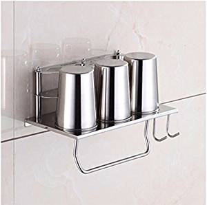 304 stainless steel bathroom multifunctional toothbrush Cup holders storage racks wall mount hair dryer rack DiTu85cL A-rod with hooks-stainless steel Cup