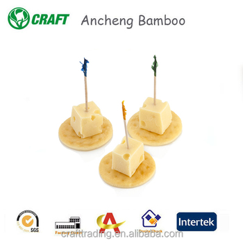 Decorative wooden picks regular frill party toothpicks