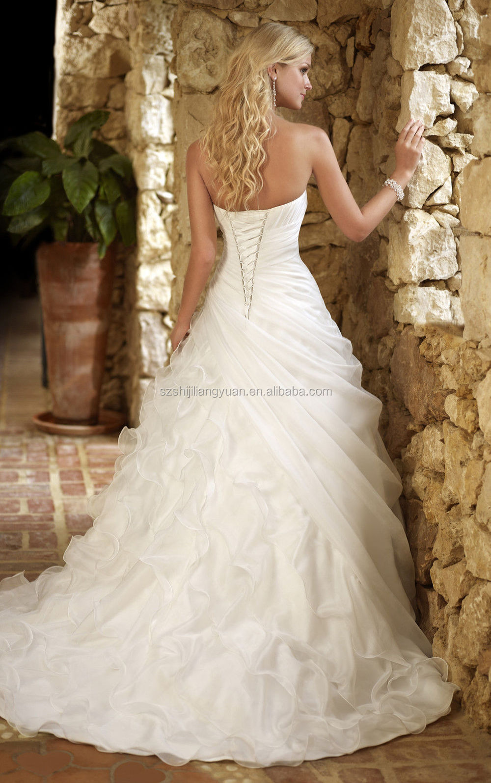 Ball Gown Wedding Dress Material : Organza ball gown long tail wedding dress with jacket alibaba