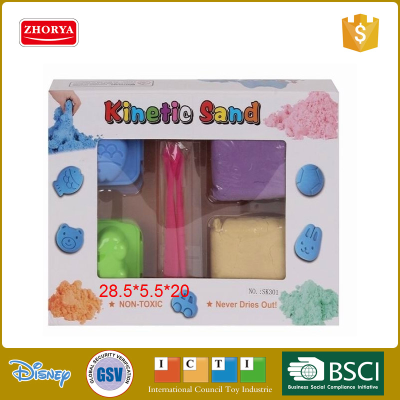 Clean colourful Moon space sand educational toys with casting tools and cartoon mould for children playing