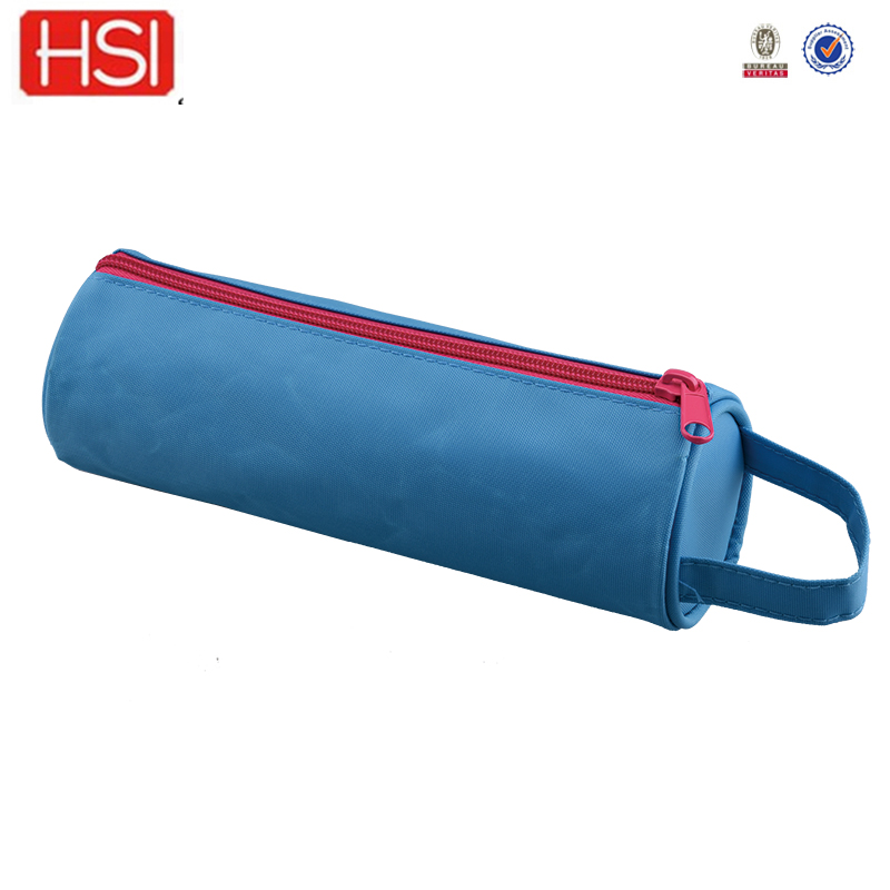 600D polyester round shape cheap pencil cases for promotion