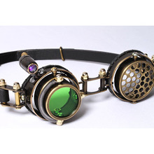 Hand-sewn Popular Steampunk Goggles Three Different Led Light Color Gothic Goggles