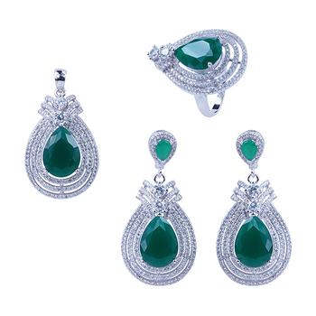Fashion Arabic design water drop green crystal 925 sterling silver wedding jewelry  set a223e377b793