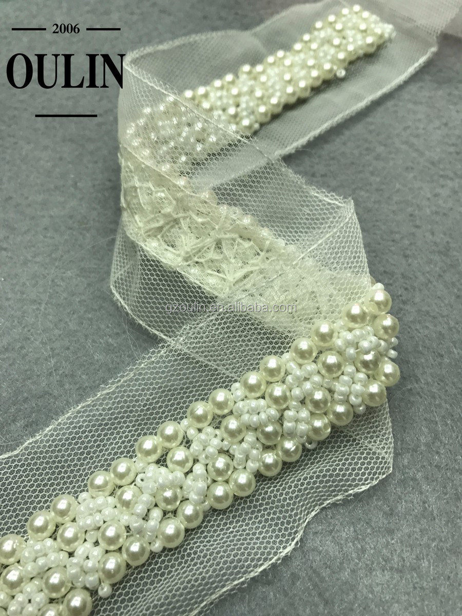 White lace trim good quality pearl lace trim for garment accessories