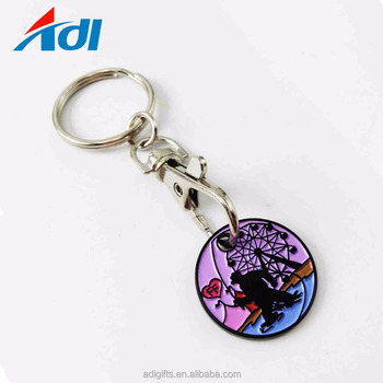 Fashion design trolley coin holder keychain for supermarket shopping