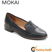 MK046-12 Black lady casual flat real leather shoe,spring and summer loafer