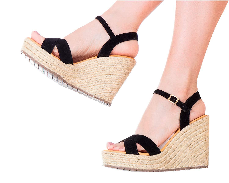 0601636f9 Get Quotations · Vida Leather Women Ankle Tie Platform Espadrille Sandals |  Sandalias de DAMA