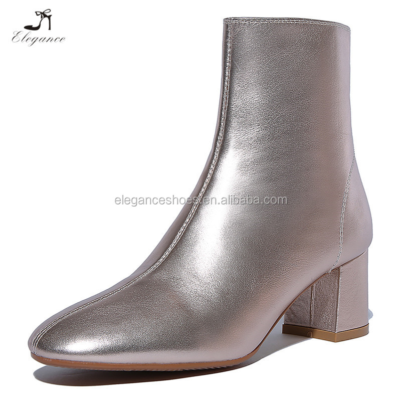 OEM Fashion Shiny Elegant Ladies Metallic Rose Gold Bootie Leahter PU Block Mid Heel Ankle Boots